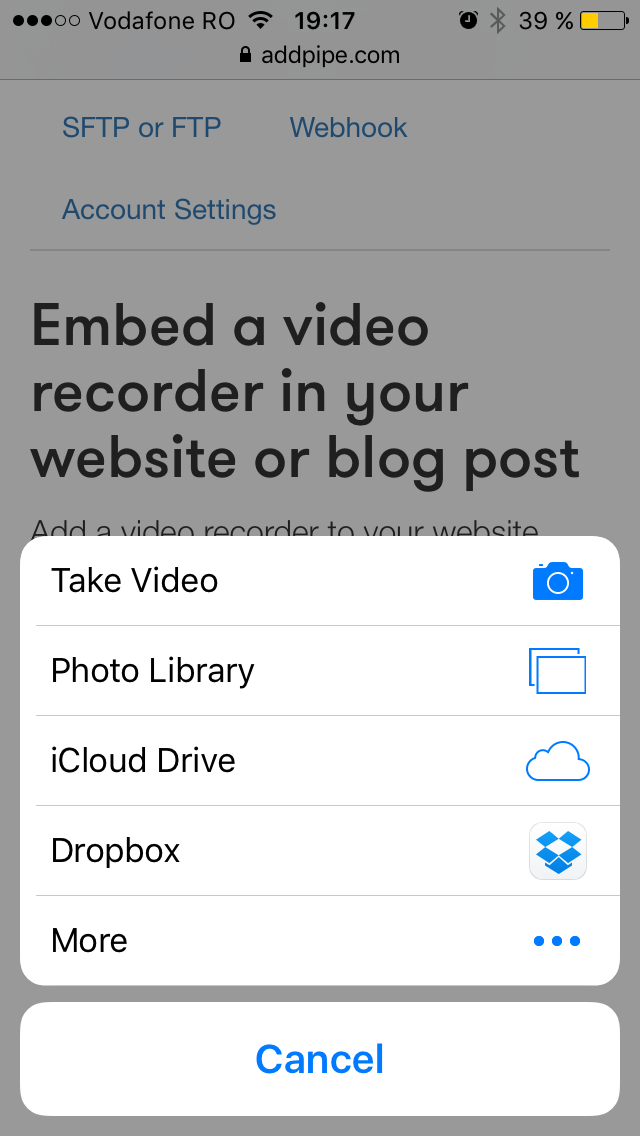 iOS 9 introduces new sources for HTML5's Media Capture