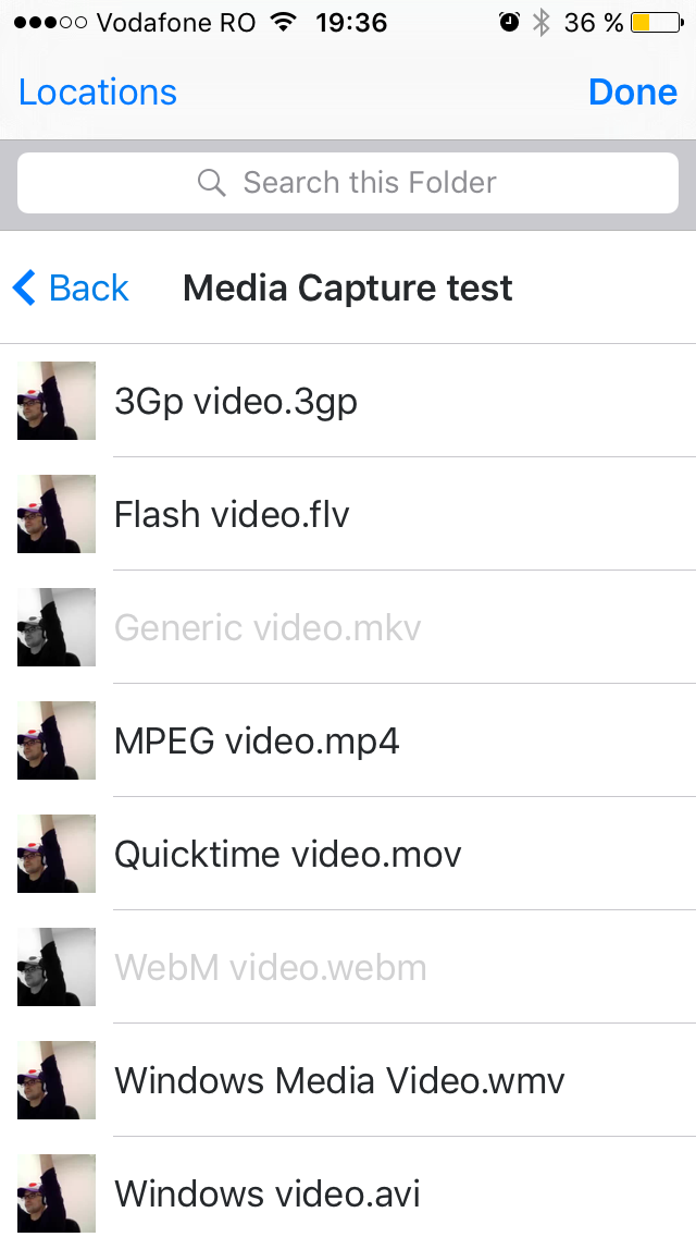 Dropbox folder with different types of videos