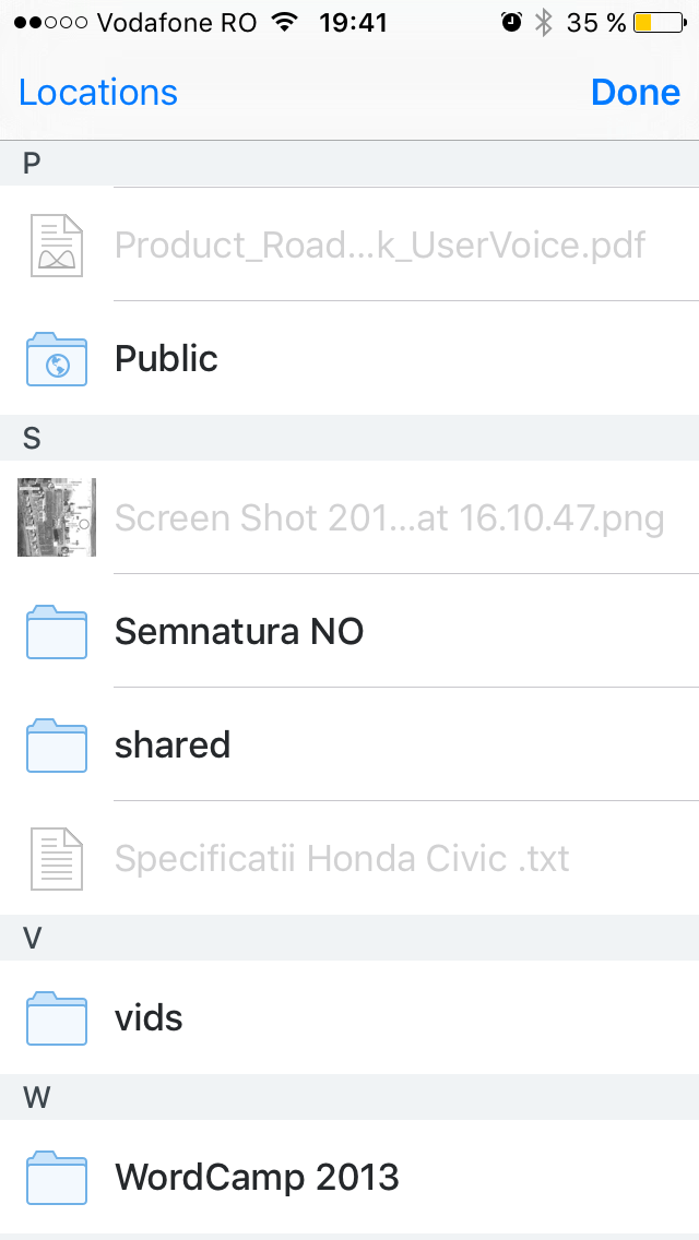 Folders and files in Dropbox