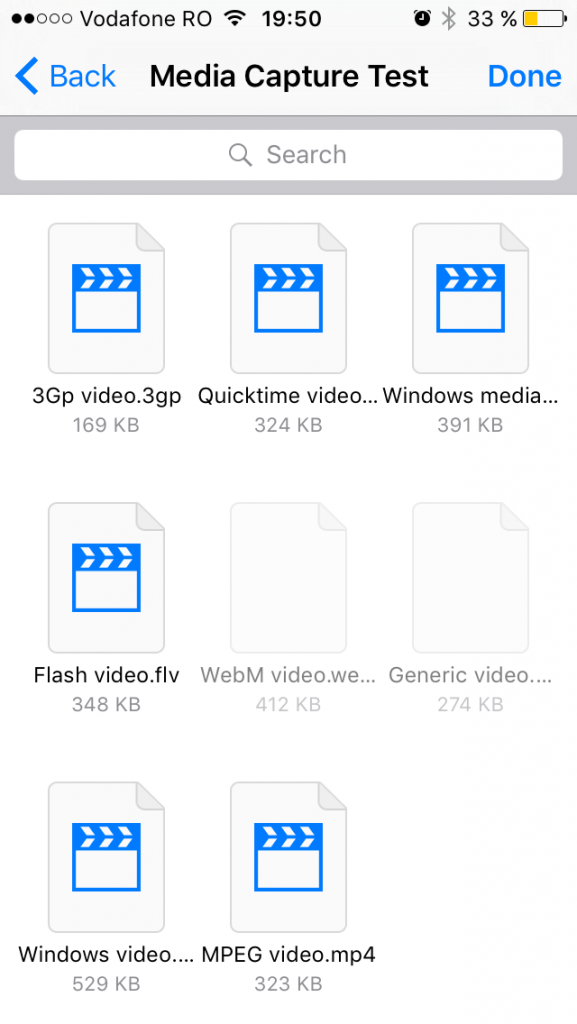 iCloud folder with different types of videos