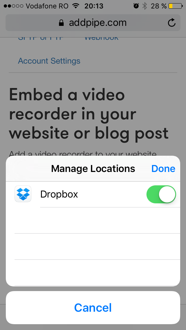 Selecting other sources for videos in Safari's media Capture Prompt on iOS 9