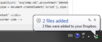 Drobox Notification in Windows