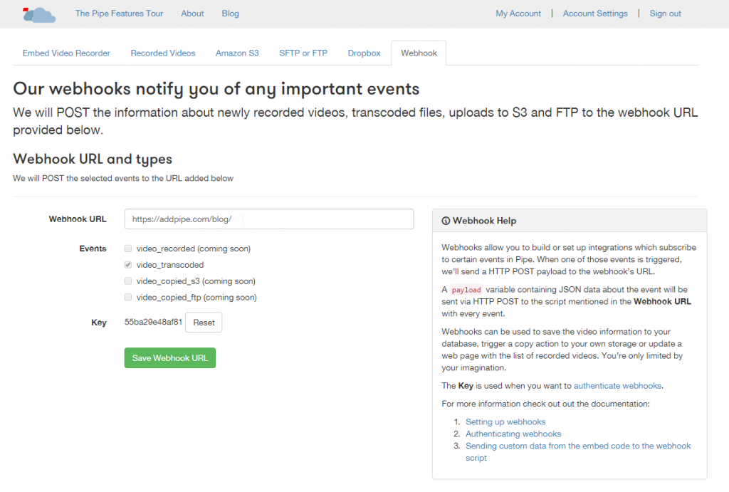 Setting up a webhook in the Pipe account area