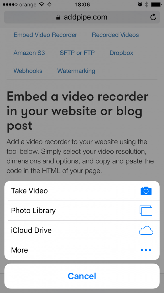 HTML Media Capture prompt on Safari on iOS9