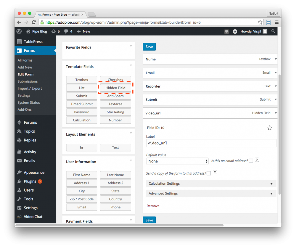 Adding a hidden field in a Ninja form in the WordPress backend