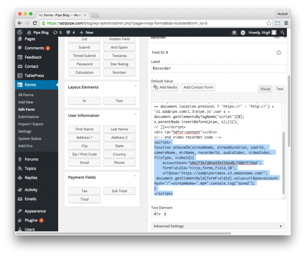 Modifeid Pipe embed code in the NinjaForm editor in the WordPress backend
