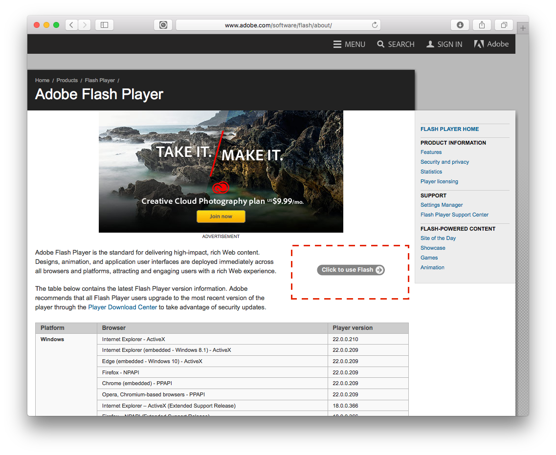 By default, in Safari 10 on macOS Sierra, Flash content is not loaded & run until a Click to use Flash overlay is clicked.