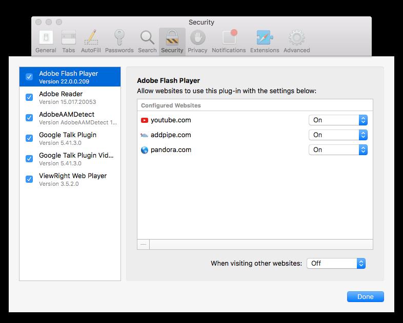 Flash is turned off by default in Safari 10 on macOS Sierra