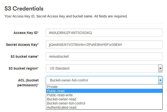 Amazon S3 ACL options in the Pipe account area