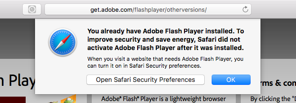 Going directly to http://www.adobe.com/go/getflashplayer on Safari 10 warns you that you already have Flash Player installed
