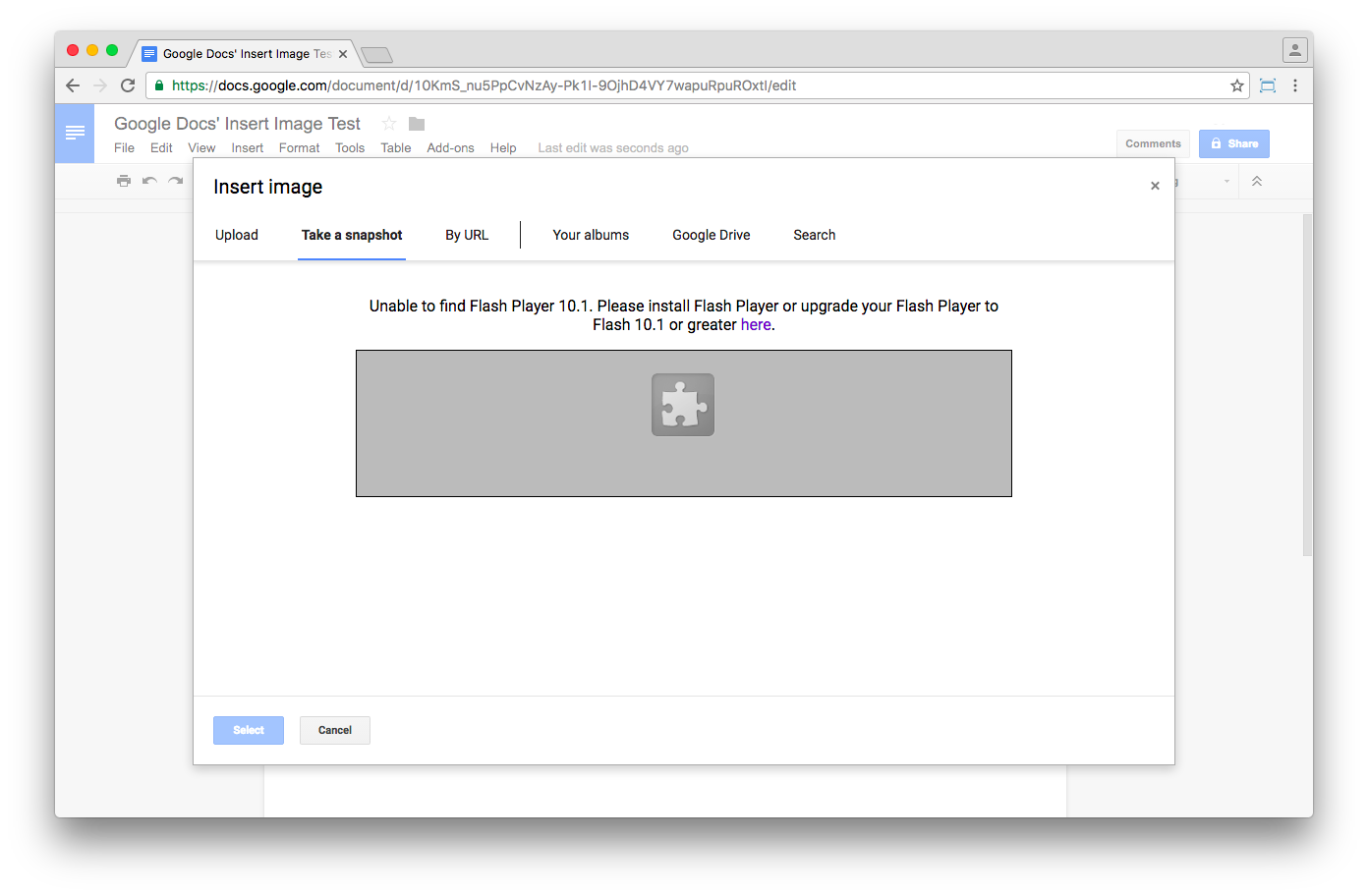 Google Docs' webcam snapshot feature does not work without Flash Player