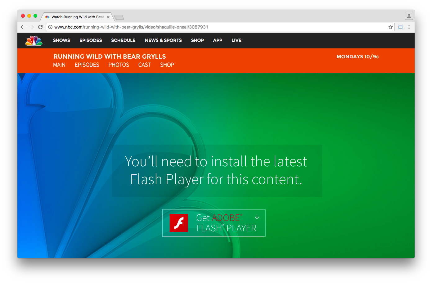 NBC is very adamant about needing Flash Player for their video content