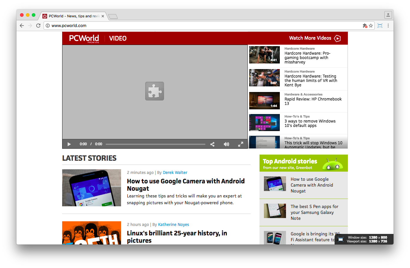 PC World's homepage video playlist immediately jumped to the grey puzzle icon
