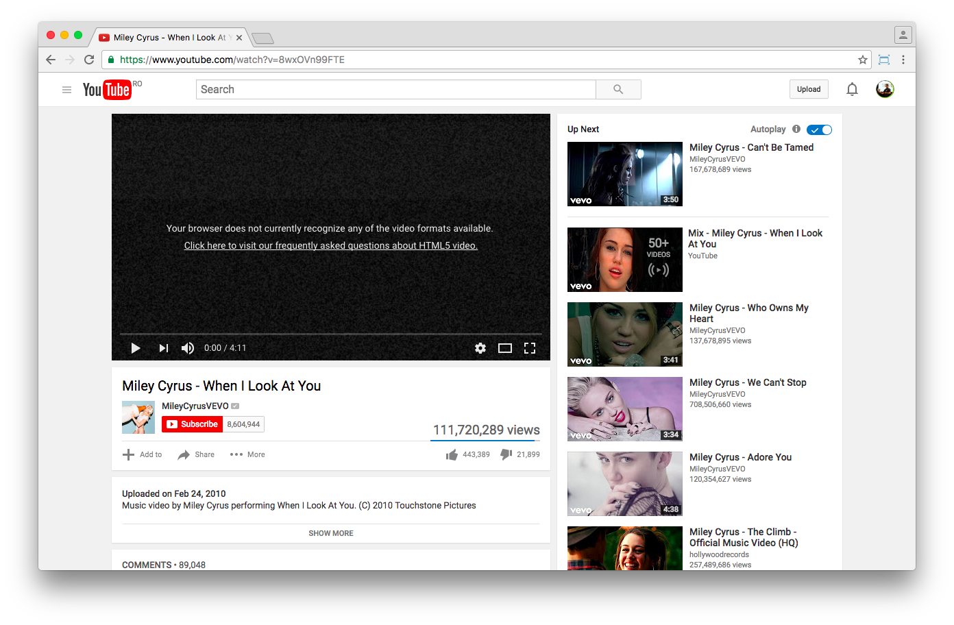 DRM'ed YouTube videos have no HTML fallback yet