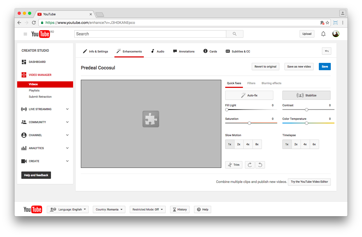 YouTube's Video editor uses Flash