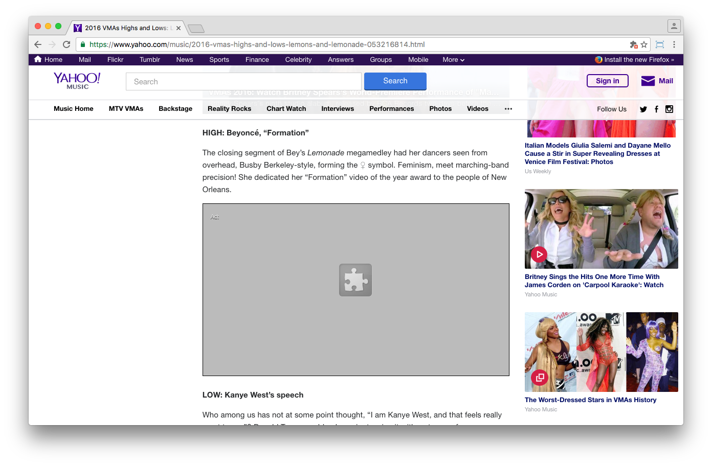Yahoo's video player defaults to Flash