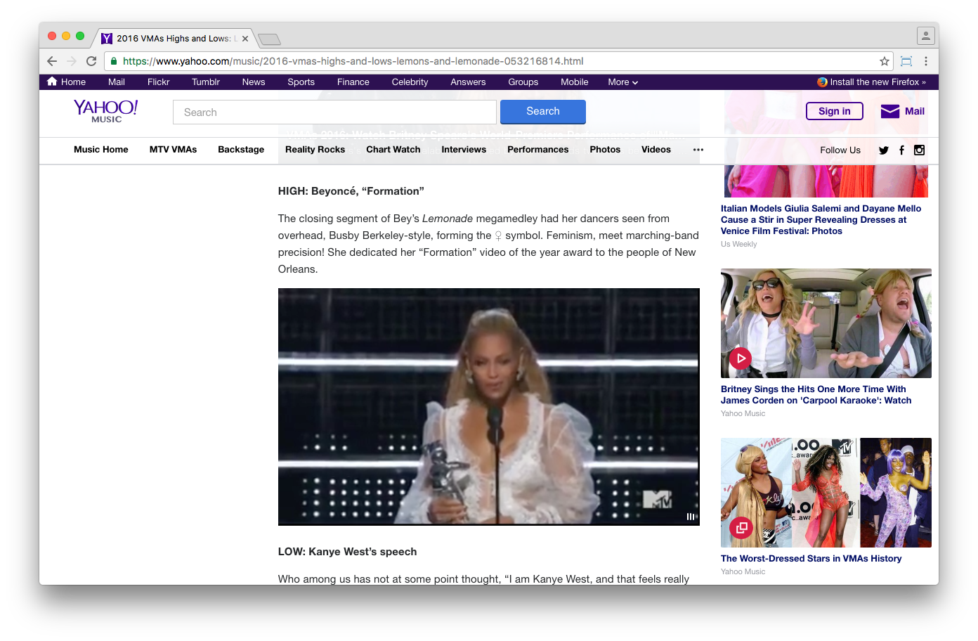 Yahoo's coverage of the VMA's worked without Flash