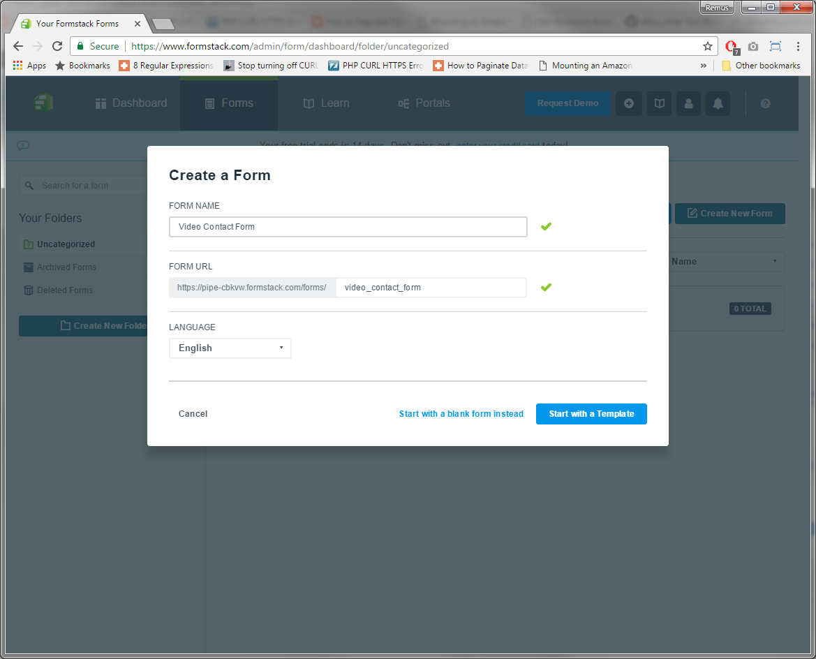 Creating a new Formstack form