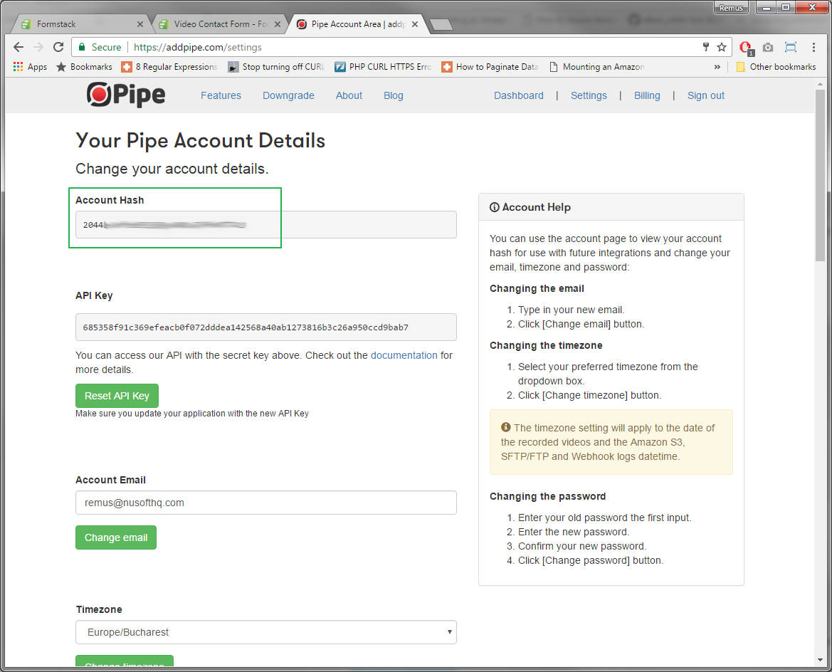 The Pipe account hash as shown in the Pipe account area