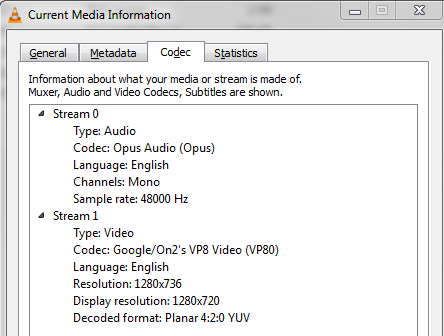 VLC's media information codec window showing audio and video codec details
