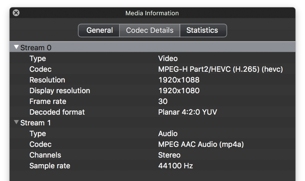 VLC's Media Infomration Window showing the HEVC video codec used for encoding video in a .MOV file