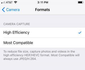 High Efficeincy option in Settings > Camera > Format