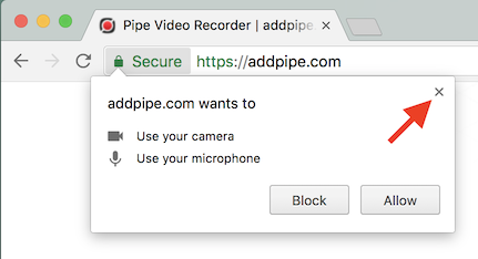 Chrome WebRTC getUSerMedia permission dialog