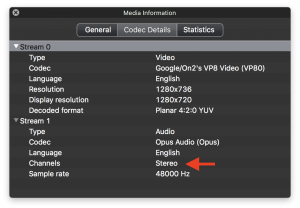 webm recording with 2 channel sound created using the media stream recorder api