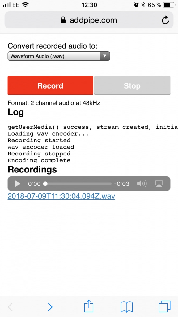 Our WebAudioRecorder.js demo running on Safari/iOS 11