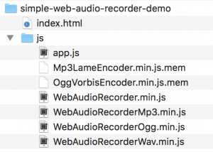Folder structure for simple web audio recorder demo