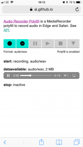 The MediaRecorder API polyfill allowed us to record uncompressed pcm audio in .wav container. Audio playback will continue in background even if Safari is minimised.