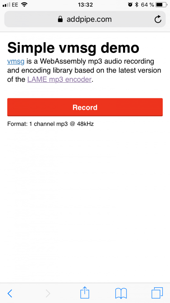 vmsg mp3 audio recording demo