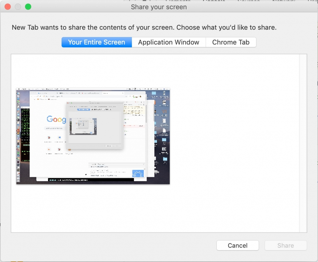 The Chrome screen capture dialog with options for the entire screen, an application window or a Chrome tab.