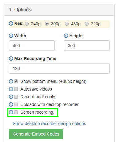 the new screen recording option in the Embed section